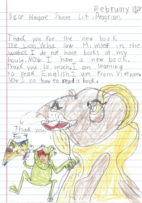 Thank you letter from a 3rd grade student