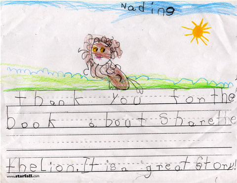 A Child's thank you note to Share Literacy