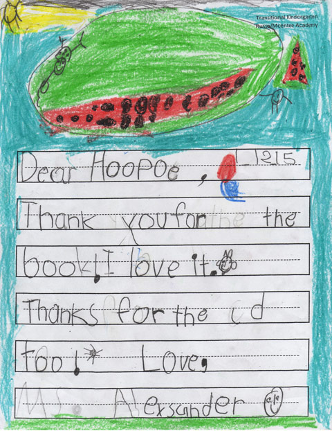 Child's thank you letter to Share Literacy