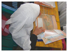 Afghan girl reading