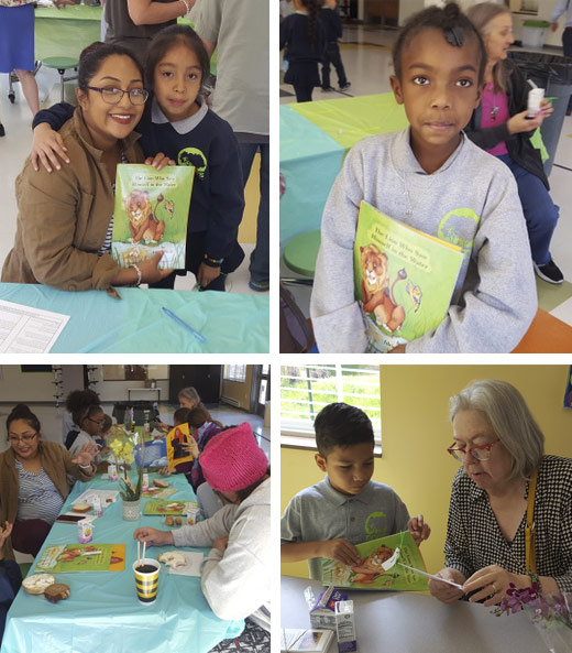 Photos of kids and adults with Hoopoe books